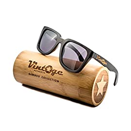 Bamboo Wood Sunglasses for Men & Women - Polarized handmade wooden wayfarer style shades that float! 94 HANDMADE BAMBOO WOOD FRAME SUNGLASSES - You won't go unnoticed! These shades are handmade from 100% natural Bamboo wood, so every pair is uniquely different. Feel great for saving the environment, cause for every purchase we will give back to our earth and plant 2 TREES! POLARIZED LENSES - Protect your eyes from the harmful sunrays with anti-glare and UV400 protection, you get crystal clear vision - Best of all ENJOY a new view from a different perspective! THESE SHADES FLOAT - For real, so you will never lose these beauties again! They are extremely lightweight while wearing them and durable. Thanks to the stainless steel-flex-spring hinges, provides the perfect universal fit - Great for any ACTIVITY or OCCASION!