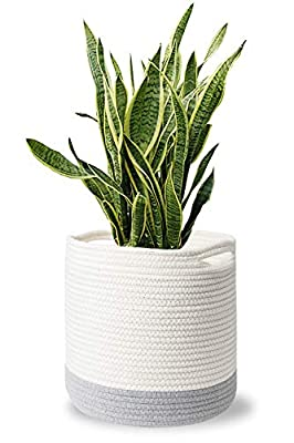 "MoonLa Woven Cotton Rope Plant Basket for 10"" Flower Pot Floor Indoor Planters, 11""x 11"" Storage Basket Organizer Storage Basket Organizer with Handles Home Decor (White and Grey Stripes)"