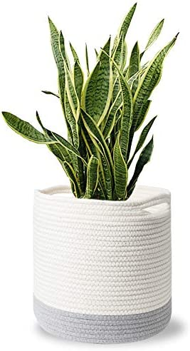 MoonLa Woven Cotton Rope Plant Basket for 10 Flower Pot Floor Indoor Planters, 11 x 11 Storage Basket Organizer Storage Basket Organizer with Handles Home Decor White and Grey Stripes
