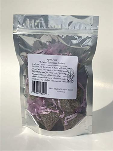 15 Lavender Sachets, Purple Sachets,Pink Organza Bags, Dried Lavender, Air Refresher, Lilac Pouches, High Fragrance Lavender ()