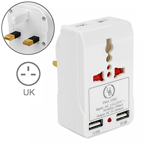 USA to UK Power Adapter by Yubi Power Travel Adapter with 2 Universal Outlets and 2 USB 2.0 Ports - Built in Surge Protector and Light Indicator - Plug Type - Store Malaysia Outlet