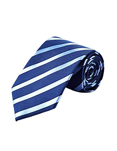 Kronen Soehne Classic Traditional Silk Tie Necktie for Formal Occasion, Ball, Dance, Wedding, Groom, Gift Dark Blue Light Stripe KTA009