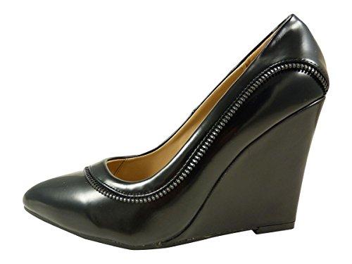 05c6ec7aaf ... Con zapato de tacón y letras, zapatos de tacón para mujer de alto  compensado con
