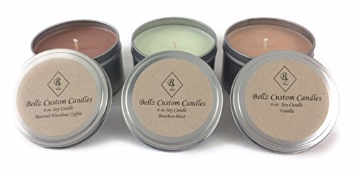 Bellz Custom Candles Soy Scented Candles - Roasted Hazelnut Coffee, Bourbon Blast and Vanilla (Pack of 3) 6 oz Each