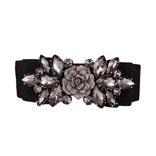 Stretch Velvet Belt - Dorchid Women Retro Belts Rhinestone Cummerbunds Floral Crystal Interlocking Waistband Stretch belt for Female Black S