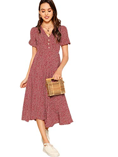 Floerns Women's Button Front Allover Floral Print V-Neck Midi Dress Red ()