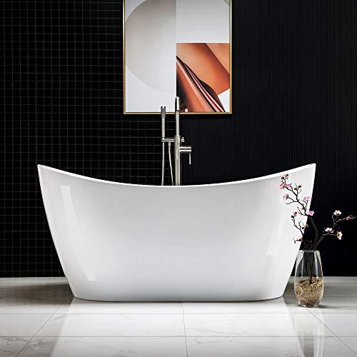 Woodbridge Acrylic Freestanding Bathtub Contemporary Soaking Tub with Brushed Nickel