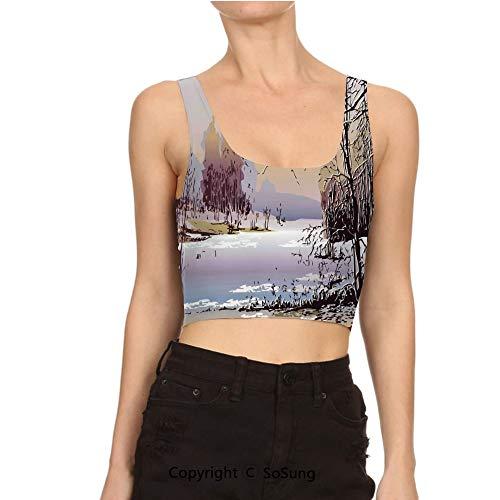 (Women Short Tee Shirt Weather Woodland River Nature Shady Crop Top Vest Tank)