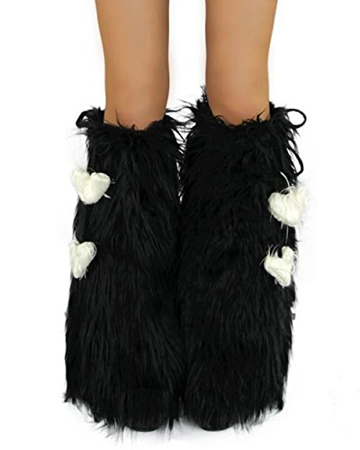 [iHeartRaves Solid Fluffy Leg Warmers - Rave GoGo Fluffies (Black)] (Furry Rave Boots)