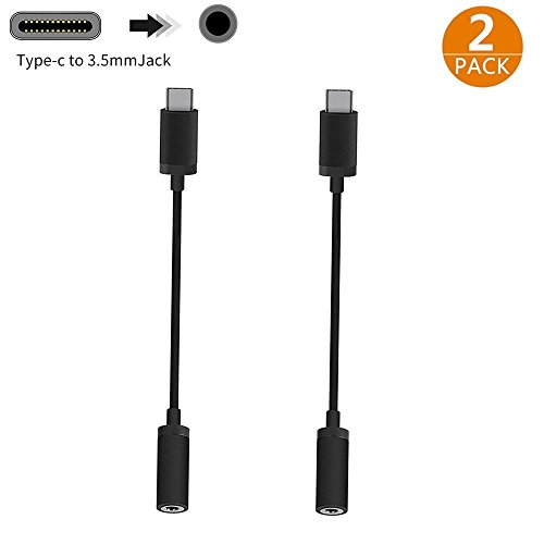 USB C to 3.5mm Headphone Jack Adapter 2-Pack, ALife Type C 3.1 Male to 3.5mm Female Stereo Audio Headphone Cable Connector for Motorola Moto Z Force, LeEco Le S3/2S/2 Pro, New Macbook and More, Black