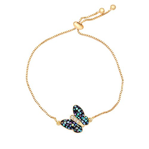 CHUANGYUN Blue Abalone Shell Butterfly with CZ Love Gift Link Bracelet for Women Jewelry