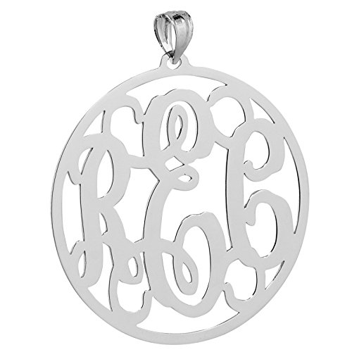 Soul Jewelry Solid 10k White Gold Round Circle Monogram Pendant 1 1/4 Inches Monogrammed 3 Initials. (0)