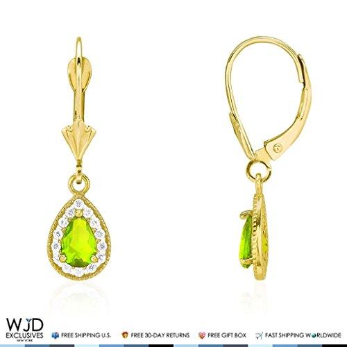 Shaped Peridot Teardrop Earring - 14K Yellow Gold Simulated Birthstone Milgrain Halo Teardrop Dangle Leverback Earrings, Peridot