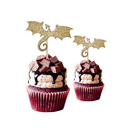 Dragon Fantasy Cup Cake Topper, Glitter Card Stock Color Gold -