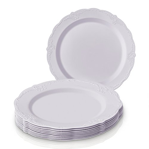 (SILVER SPOONS VINTAGE COLLECTION PARTY DISPOSABLE DINNERWARE SET | 20 Salad Plates | Heavyweight Plastic Dishes | Elegant Fine China Look | for Upscale Wedding and Dining (White - 9 Inch))