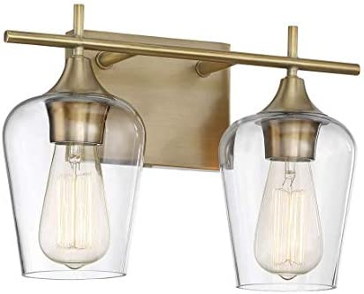 Savoy House 8-4030-2-322 Octave 2-Light Bathroom Vanity Light in a Warm Brass Finish with Clear Glass 14 W x 9 H