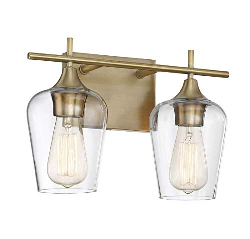 Savoy House 8-4030-2-322 Octave 2-Light Bathroom Vanity Light in a Warm Brass Finish with Clear Glass (14 W x 9 H)