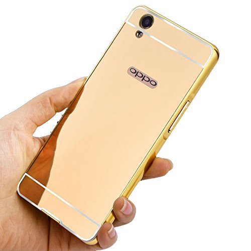 new arrival b27c9 df943 Johra Acrylic Mirror Back Cover With Bumper Case For Oppo A37F - Gold