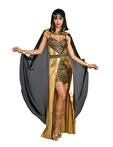 Dreamgirl Women's Glamourous Metallic Cleopatra Costume Minidress, Gold, Medium]()
