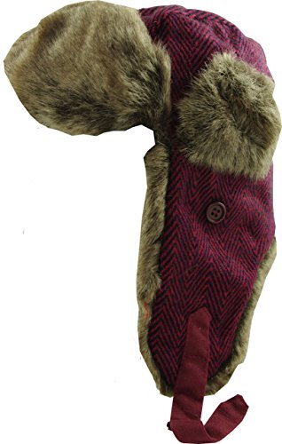 (Chaos Brothers Women's Luxury Herringbone Girly Trapper Hats 58 Cm Burgundy)