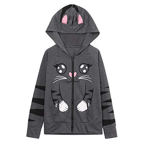 Girls Cat Ear Hoodie, Womens Cute Zip Up Kangaroo Pocket Sweatshirt Hooded Pullover Blouse Tops