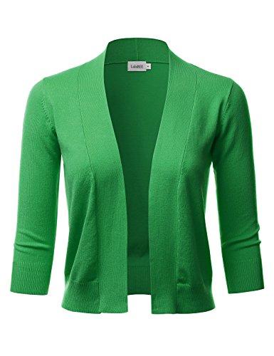 LALABEE Women's Classic 3/4 Sleeve Open Front Cropped Bolero Cardigan-APPLEGREEN-M (Bolero Nylon)