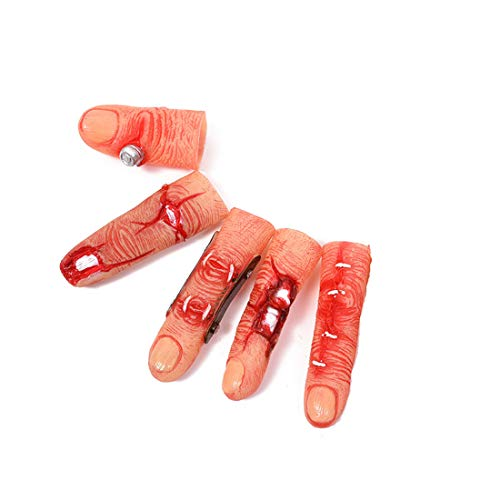 Fake Finger Cover Realistic Severed Body Parts Fingers Novelty Gag Props for Halloween, Haunted House, Theater, Parties Tricks 5PCS -