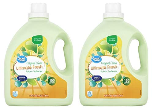 Great Value Ultimate Fresh Fabric Softener, Original Clean Scent, 129 fl oz (Pack of 2) by Great Value