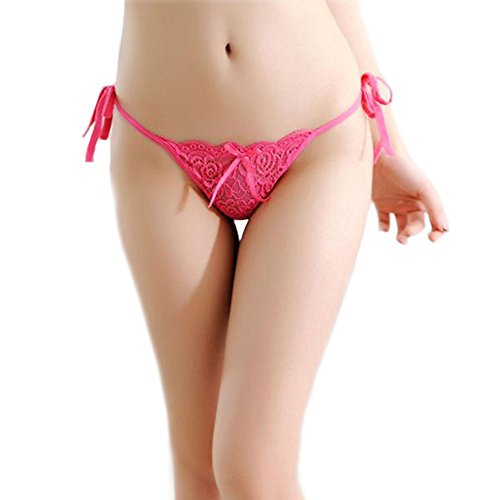 milly store Women Lace Tie Panties Bowknot Ribbons Lace Thongs Panties Adjustable G-String Sexy Underwear (Rose red)