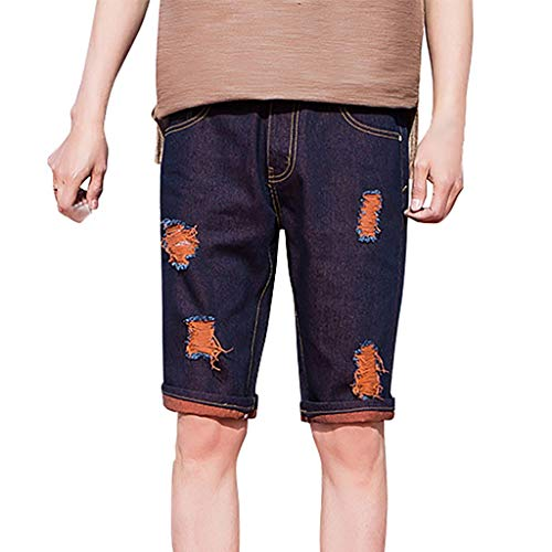 iHPH7 Jeans Shorts Men Classic Relaxed Fit Five Pocket Jean Short Men Distressed Denim Shorts Ripped Jeans Casual Holes Pants Summer Short 32 Brown