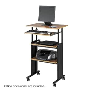 Safco Products 1929MO Muv Stand-Up Adjustable Height Computer Workstation with Keyboard Shelf, Medium Oak