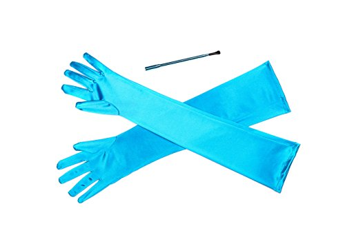 Bright Turquoise Extendable Cigarette Holder and Long Satin Glove Costume Accessory Set