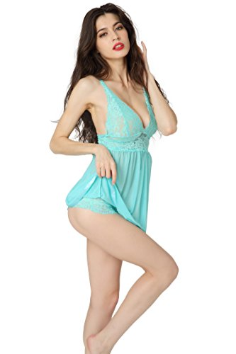 Aibrou Lencería Mujer Químico Atractivo, Semi-Transparente Picadias Ropa Interior, Erotica Pijamas Encantadora de Espalda Abiertas para Diversión Verde
