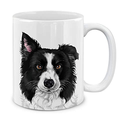 MUGBREW Cute Black and White Border Collie Dog Full Portrait Ceramic Coffee Mug Tea Cup, 11 OZ