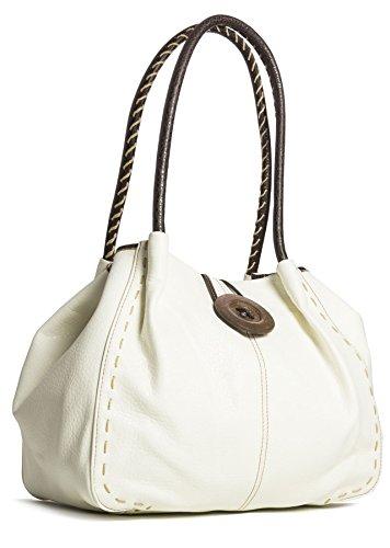 Big Handbag Shop - Bolso al hombro de sintético para mujer One Z * (Pu Grado 2) - Crema