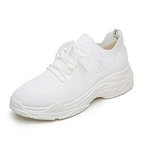Tonigue Sportschuhe Frauen Harajuku Breathable Beiläufige Weiße Laufschuhe Frauen Wandern Trainingsschuhe Casual Fashion Gym Fitness Schuhe UK3-UK7 White