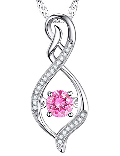 Anniversary Gift for Her Pink Tourmaline Swarovski Infinity Pendant Birthstone Necklace Jewelry Sterling Silver -