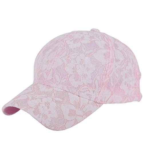 (Women Beauty Summer Cap New Hats Thin lace Floral Design Breathable Cool Baseball caps Adjustable Size Pink)