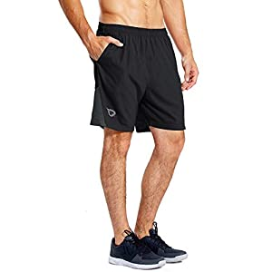 BALEAF Men's 7 Inches Athletic Running Shorts Quick Dry Mesh Liner Zip Pocket