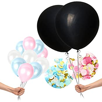 Treasures Gifted Gender Reveal 36 Inch Opaque Black Balloons with Blue and Pink Confetti Neutral Party Supplies Celebration Kit Boy or Girl Pastel for Baby Shower Decoration