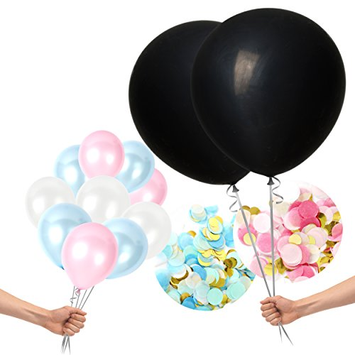 Treasures Gifted Gender Reveal Party Supplies in 36 Inch Jumbo Opaque Black Balloons with Blue Pink Confetti and 30 Pack Latex Balloons for Boy or Girl Neutral Party Decorations -