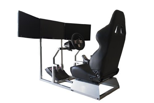 41%2BWk loJ2L - GTR Simulator - GTA-F Model Racing Simulator Triple or Single Monitor Stand with Adjustable Leatherette Seat, Racing Simulator Cockpit gaming chair Single Monitor Stand