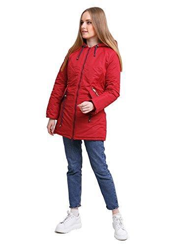 DASTI Women's Parka Spring Waterproof Refresh with a Warm Deep Hood (M, Red)