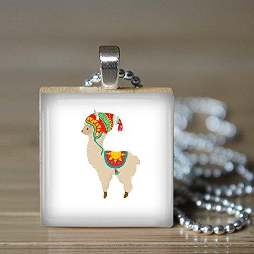 Llama Scrabble Tile Pendant Necklace - Wearable Art