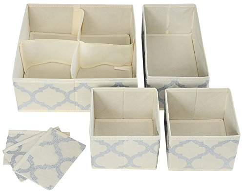Set of 4 Organizer Bins with Dividers for Closet Dresser Drawer Inserts Bathroom Dorm or Baby Nursery; Store Socks Underwear Clothes; Clothing Organization; Organizador de Closet; (Set of 4, Beige)