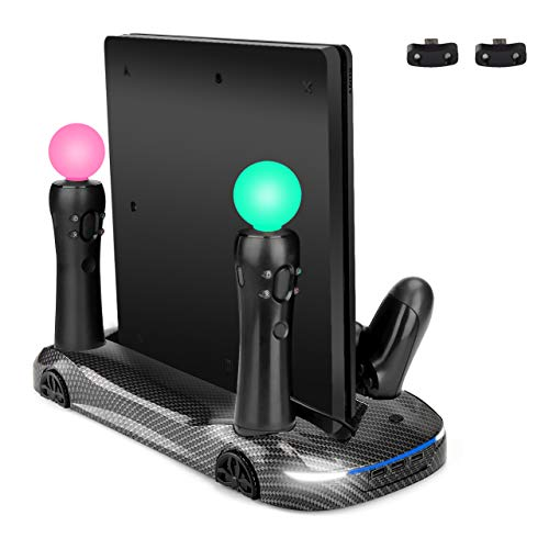 LIDIWEE Vertical Stand for PS4 Pro/Slim with Dual Cooling Fan, Dual Controller Charger Station/PS Move Charging Port, 3 USB HUB Port, Carbon Fiber Appearance (Gamers Pro Kit)