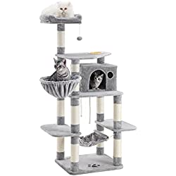 "SONGMICS 69"" Multi-Level Cat Tree with Feeder Bowl, Sisal-Covered Scratching Posts, Hammock, Basket and Condo, Activity Centre - for Kittens, Cats and Pets - Large, Light Gray UPCT99W"