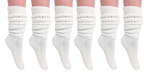 - Slouch Socks Women and Men Extra Tall Heavy Cotton Socks Made in USA Size 9 to 11 (White, 6)