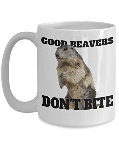 Beaver Mug – Good Beavers Don't Bite – Great Gift for Oregon Friend – 11oz or 15oz Ceramic Coffee Cup – Celebration, Birthday, Gag Gift, Christmas, Stocking Stuffer, Chanukah, Gift - Bites Java