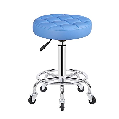 Height Chrome Steel Bar Stool Round Cushion 13inch, Salon Rolling Stool Swivel Chair On 5 Wheels, Counter Stools (Color : Blue) ()
